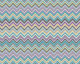 Aqua Purple Chevron Fabric - Modern Quilting Sewing - Valorie Wells Nouvella Collection - cotton Fabric by the yard
