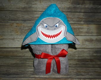 Custom Embroidered Hooded Towel- Shark Inspired