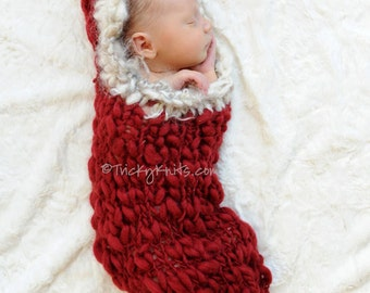 Newborn Cocoon Knitting Pattern for Newborn Photo Prop or Baby Gift - easy DIY Eskimo Kiss Hooded Cocoon for Photo Shoots