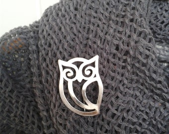 Sterling Silver Owl  Brooch- Valentine's Day Gift, Birthday Gift ,Handmade Gift, Mother's Day Gift,