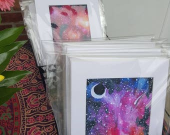 Colorful Multicolor Night Sky Moon and Stars Galaxy Space Nebula Matted Print