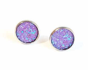 HYPOALLERGENIC Faux Druzy Earrings 12mm LARGE (Surgical Stainless Steel) - Purple