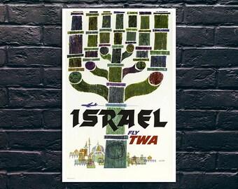 Israel Vintage Airlines Travel Poster, Israel Travel Print, Tourism Wall Art, Vintage Travel Poster Print