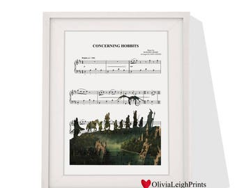 Lord of the rings sheet music art print Instant Download