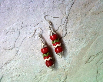 Red, Olive Green and White Earrings (1627)
