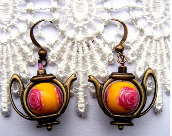 Teapot earrings bright yellow and fuscia pink rose teapot earrings with handmade polymer clay bead