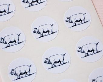 Pig Stickers - One Inch Round Seals