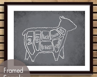 Lamb Butcher Diagram of a Sheep - Art Print (featured in Charcoal) (Buy 3 and get One Free)