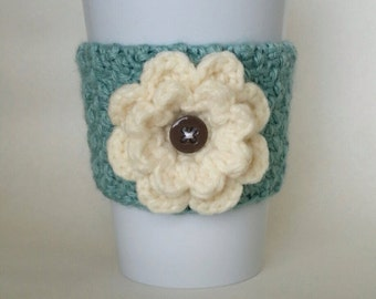 Crochet Flower Coffee Cup Cozy Sea Foam and Cream