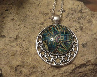 Print and 1 cabochon silver necklace
