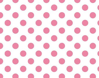 Clearance 1YD Pink Polka Dot fabric | Riley Blake Hot Pink Medium Dot White | cotton quilting fabric sale | wholesale discount fabric - 1YD