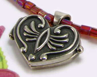 WISH HEART hot pink blush pink beaded necklace, sterling silver heart locket wish box prayer box with wing motif
