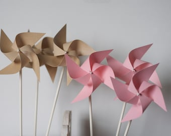 Pink and gold birthday, pink and gold first birthday, pink and gold, pinwheels, paper pinwheels, pink pinwheels, childrens birthday 12 mini