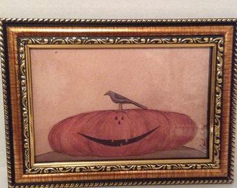 Vintage like Pumpkin Picture-Fall-Autumn-Halloween-Primitive Home Decor