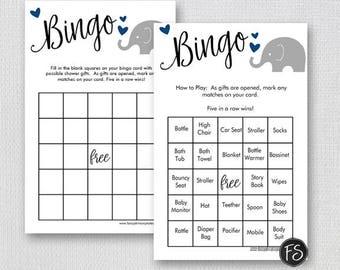 Elephant Baby Shower Bingo Game, Prefilled Printable Bingo Game Cards, Blue and Grey, Instant Download Digital File 0014