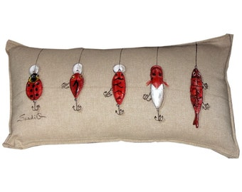 RED CRANKBAIT LURE Pillow Cover, Fathers Day Gift, Fishing Lure Decorative Pillow Sham