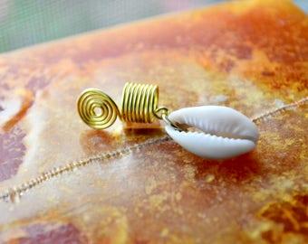 Cowrie Shell Dread Bead, Loc Jewelry, Dreadlock Bead, Dread Cuff, Jewelry for Dreads, Braid Jewelry, Hair Jewelry for Locs