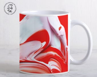 Mug, Lush and Rich Mix of Red and White Paints - Detail of a Painters Palette