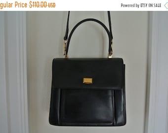 ON SALE Bally Handbag Black Leather Kelly Bag Cross Body Shoulder Bag 1990s Grunge
