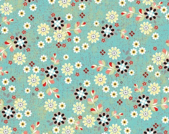 You & Me Patched Flowers Turquoise from Adorn It - Full or Half Yard Tiny Flowers on Turquoise