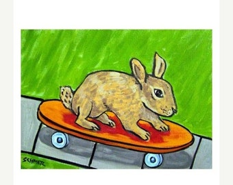 25% off bunny art - Bunny Rabbit- art - print -  print - gift for skateboarder - skateboarding - modern folk art - bunny gift