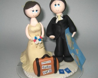 Traveler cake topper, tourist cake topper, custom wedding cake topper, suitcase, map