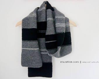 hand knit scarf || knit garter scarf || winter scarf | striped scarf | one of a kind mens scarf -grey black stripe 6.5 x 70.5''