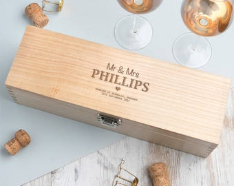 Wedding Date And Venue Wine Box Personalised Gift (BOTTLE NOT INCLUDED)