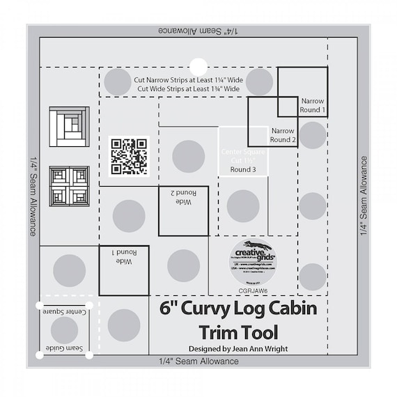 Quilt Ruler Curvy Log Cabin Trim Tool For 8 Inch Finished Quilt Blocks, Non Slip Ruler Designed by Jean Ann Wright For Creative Grids USA