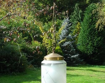 Pretty Unusual vintage French brass lantern with frosted shade ( 1N )