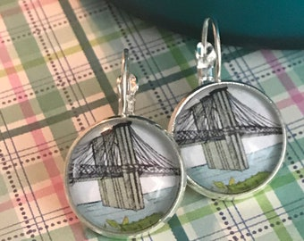 Brooklyn Bridge glass cabochon earrings - 16mm