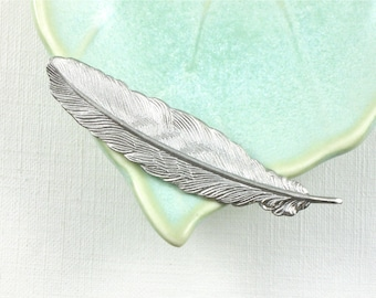 4 matte silver FEATHER jewelry embellishments 53mm x 14mm (ST4c)