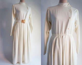 Vintage Off White Midi Dress - Off white vintage Dress - Asymmetrical buttoning dress.
