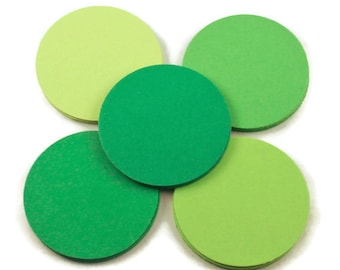 Paper Die Cut Two Inch Circles in  Fresh Greens Set of 50