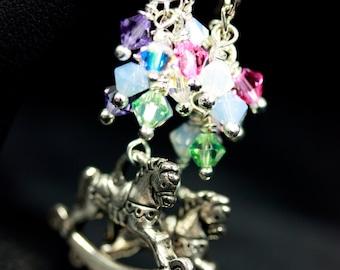 Swarovski Crystal earrings, Rocking Horse Earrings, Baby Shower earrings, Pink, White, Purple, Green, Blue, Handmade Earrings