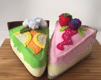 Play food cheesecake . Felt food strawberry and lime cheesecake .