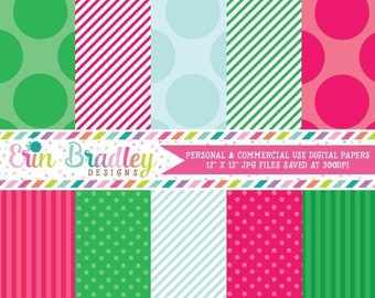 80% OFF SALE Commercial Use Printable Paper Pack Pink Green & Blue Stripes and Polka Dotted Patterns