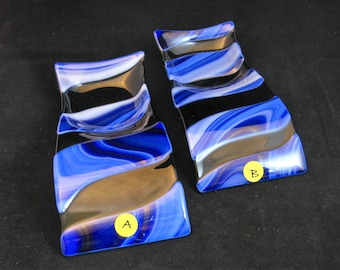 Fused Glass Spoon Rest, Cobalt Blue Spoon Rest, Black Spoon Rest, Spoon Holder, Blue and Black Spoon Rest, Spoonrest