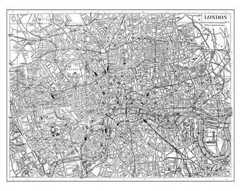 London Map Vintage Street Map Poster Print