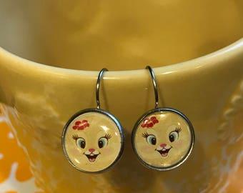 Cat glass cabochon earrings- 16mm