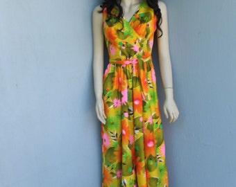 Vintage Kamehameha Hawaiian Jumpsuit, Floral Hawaiian Print PALAZZO Pants Jumpsuit,  Wide Leg