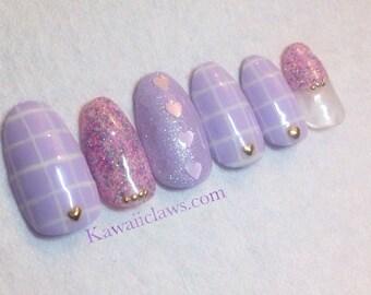 Pastel Purple Grid & Hearts with Spring Glitter Gel Nail Art Press on false fake nails