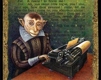 Year of the Monkey art print, Infinite Monkey: Shakespearean monkey with typewriter,Chinese New Year, math geek gift, funny monkey painting