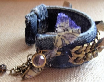 Denim, bracelet, cuff,/heavy brass, chain,,silk, dyed ribbon,/rhinestones,charms,adjustable