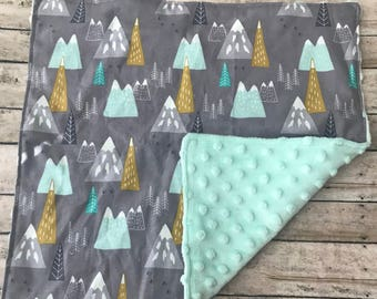 Woodland Baby Lovey-Lovey Blanket-Minky Lovey-Boy Lovey Blanket-Cuddle Blanket-Security Blanket