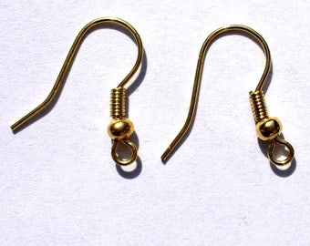 2 Gold hooks 20mm AC19 earrings