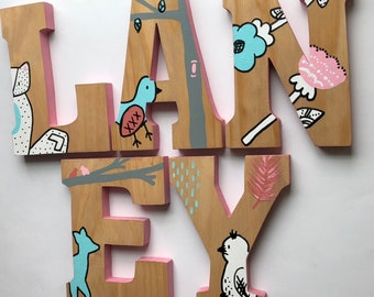Wooden Letters for Nursery, Woodland Nursery Decor, Hand Painted Wood Letters, Woodland Creatures, Lolli Living Sparrow, Girl Nursery