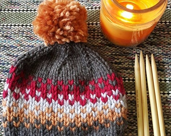 PATTERN: Fair Isle Hat pattern, Hadley Hat, knitting, Pom Pom Hat, **DIGITAL DOWNLOAD** Intermediate, knit beanie pattern, chunky knit