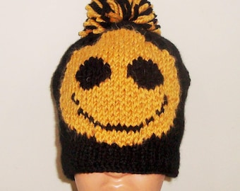 Black Gold Happy Smiley Face Hat, Mens gift for man, unique gift, hand knitted, Knit, Winter Hat, men's hat, for him, Dad, Father's Day Gift