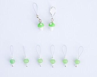8 Green Mushroom Markers - 6+1 stitch markers - 1 progress marker - Ready to ship